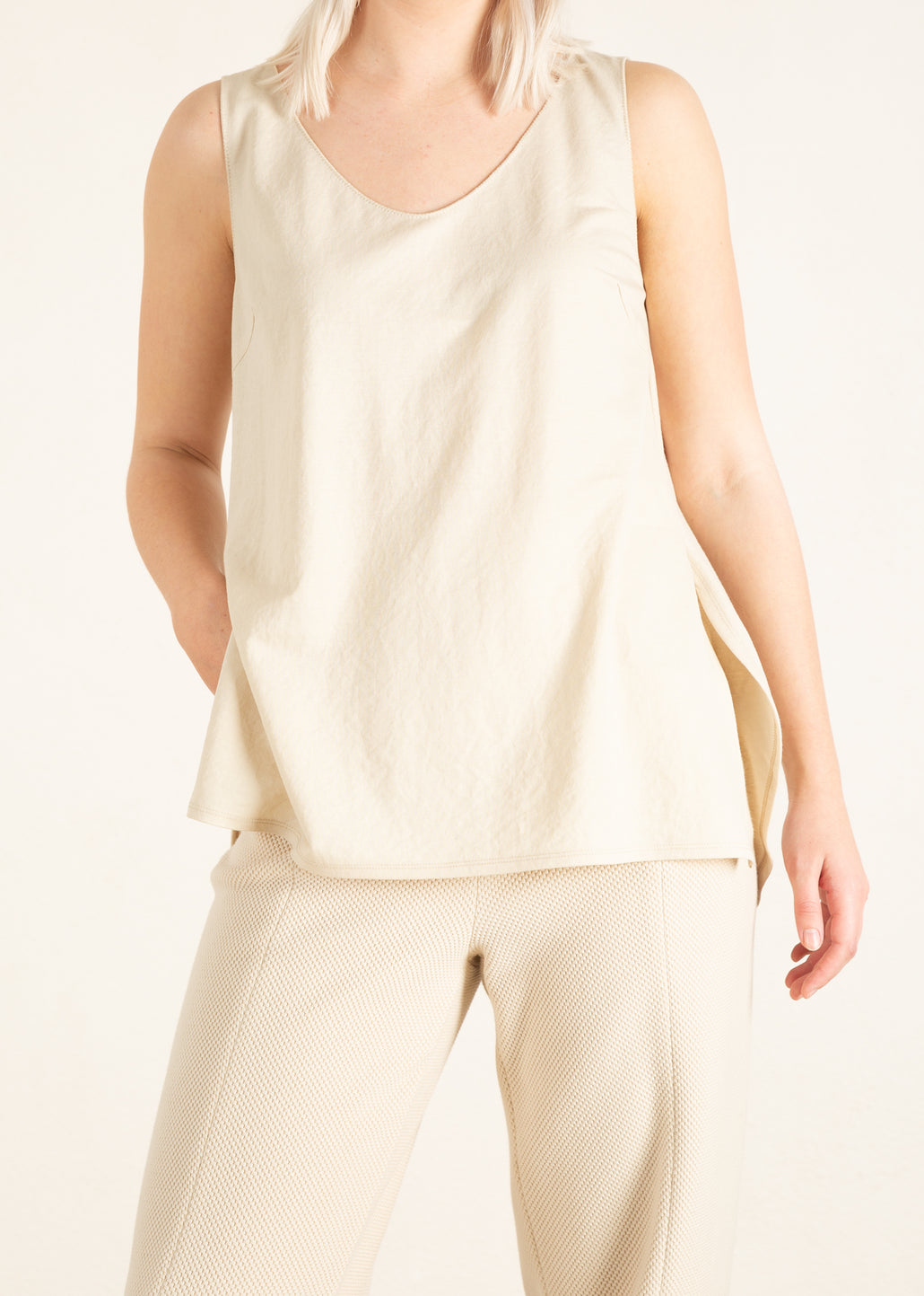 Licht beige dames basis top