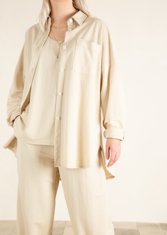 Beige dames combinatie met blouse en top