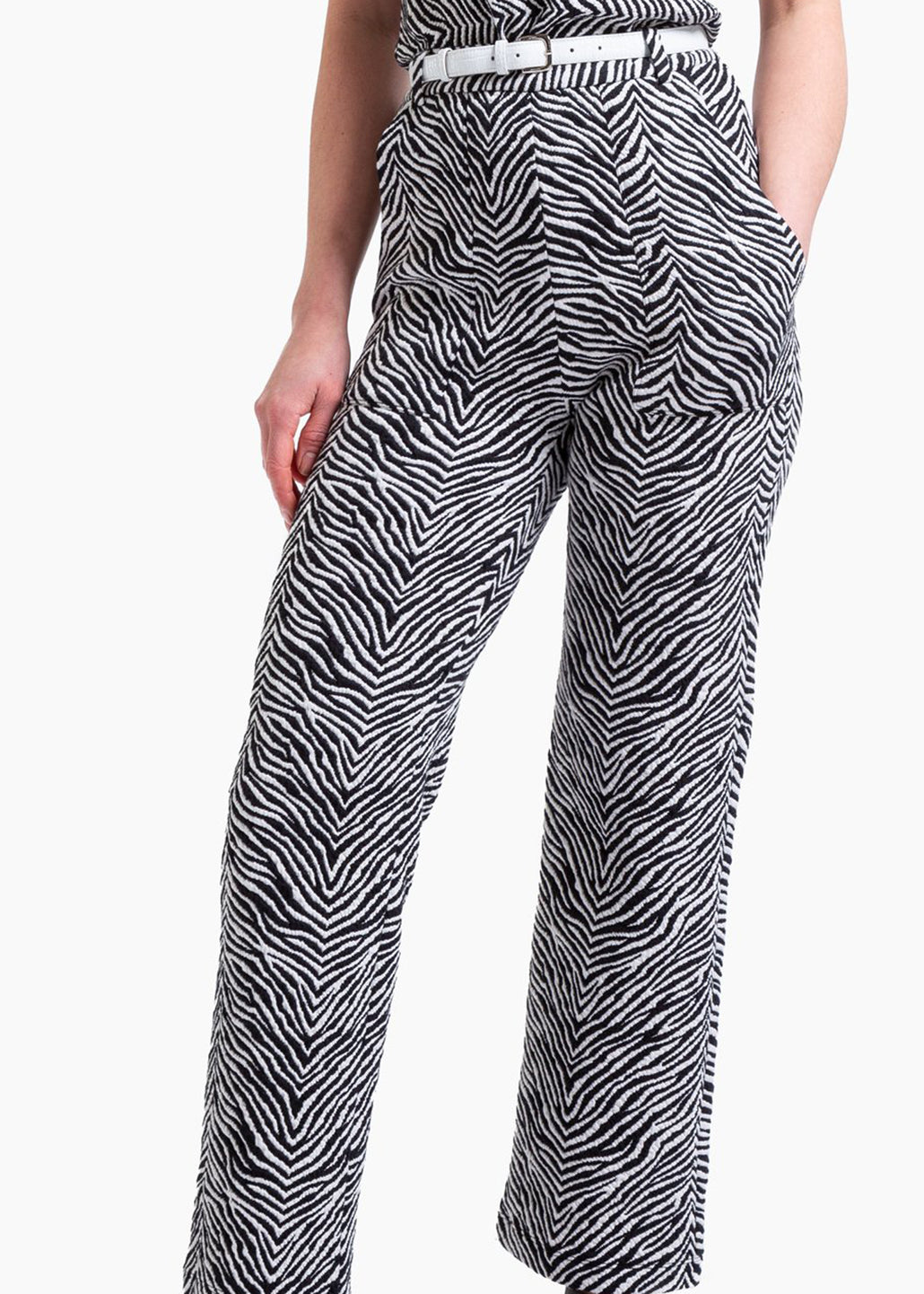 Broek zebra crop flared