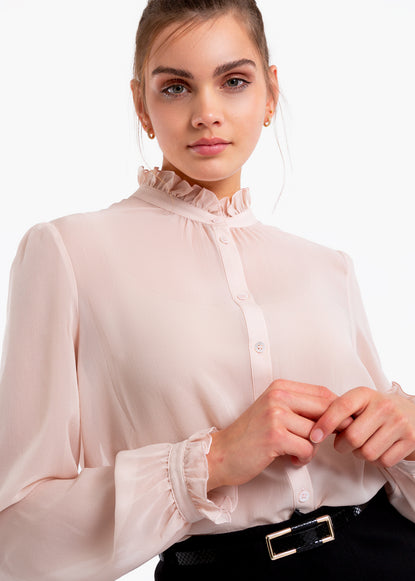 Transparante blouse met ruches