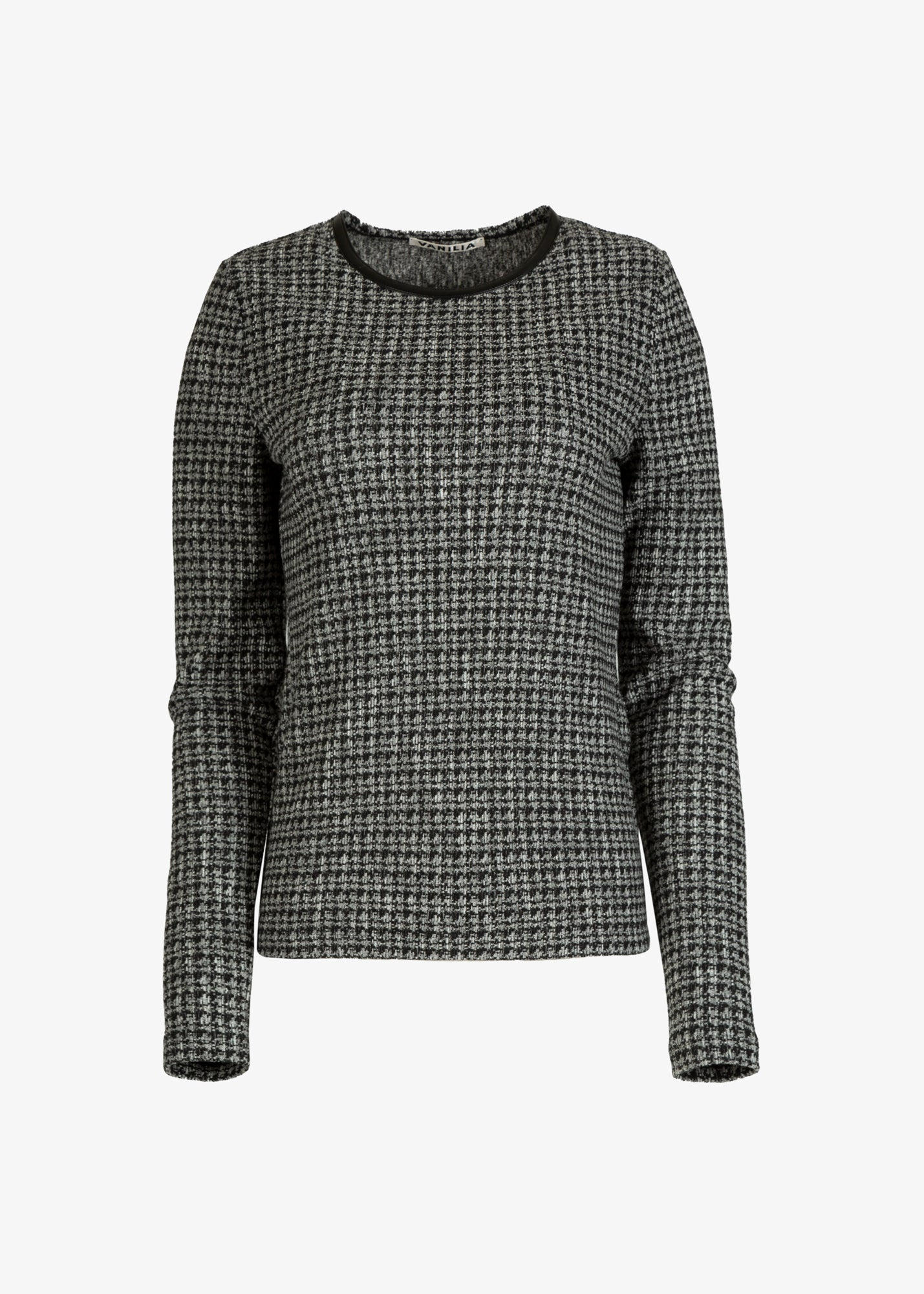 Aansluitende top in tweed dessin