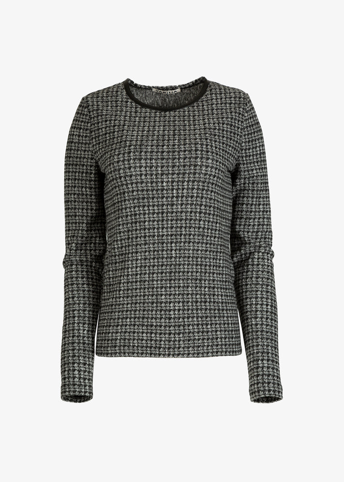 tricot top met tweed print