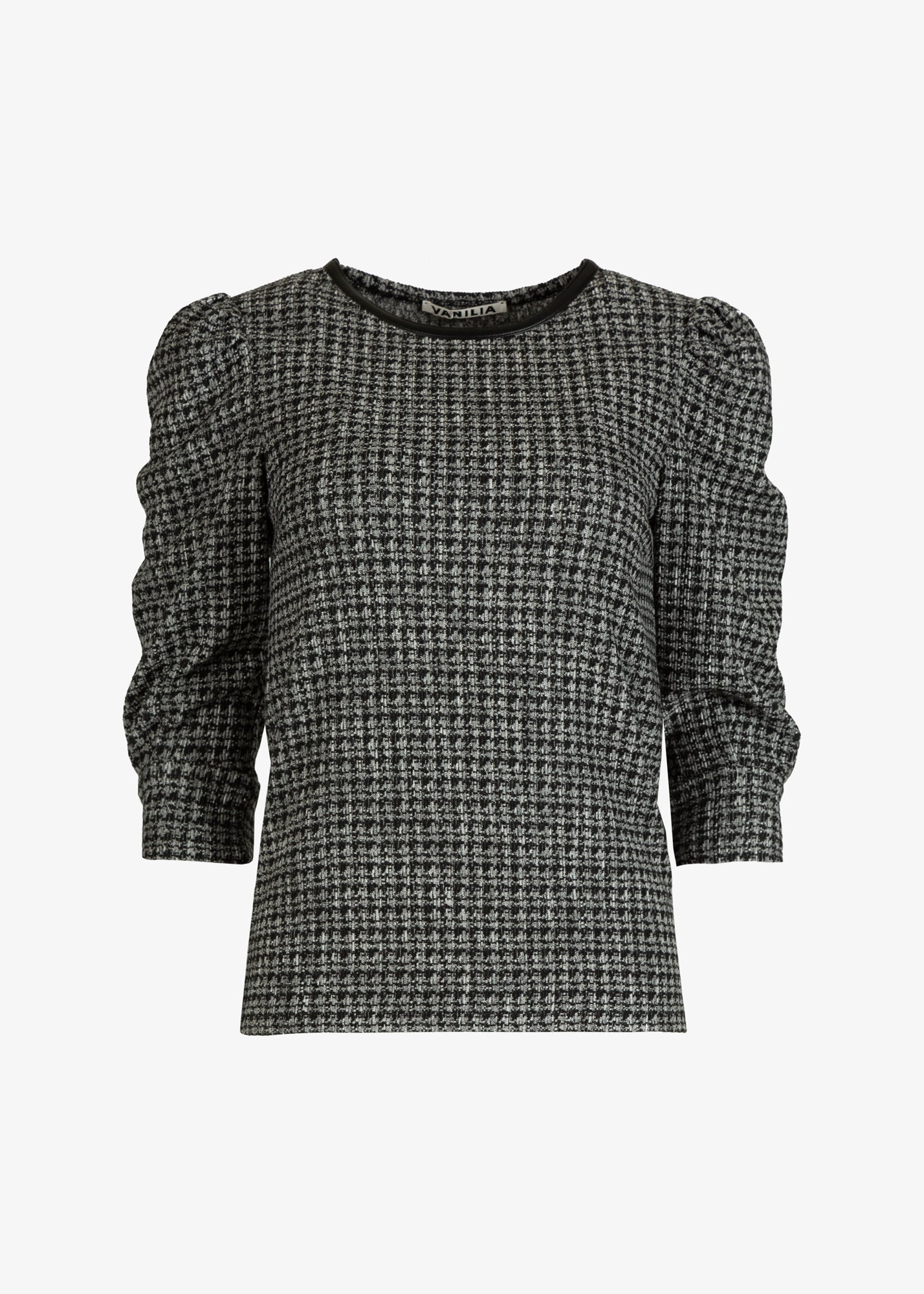 Top in tweed dessin met pofmouw