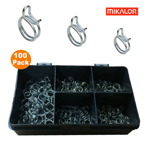 100 x Assorted Mikalor Double Wire Spring Clips<br><br>