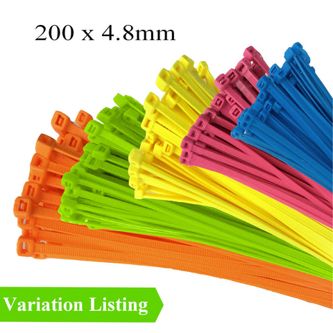 100 x Fluorescent Nylon Cable Ties 200 x 4.8mm<br>Menu Options