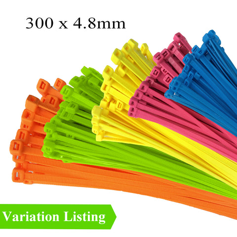 100 x Fluorescent Nylon Cable Ties 300 x 4.8mm<br>Menu Options