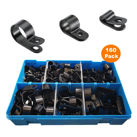 160 x Assorted Metric Black Nylon P Clips <br><br>