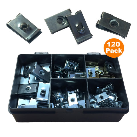 120 x Assorted Imperial U Nut Clip Fasteners <br><br>