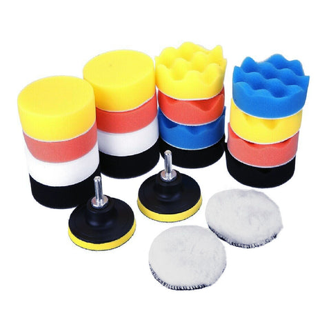 22 x Assorted Foam 75mm Polishing Pads with 2 Backing Plates
