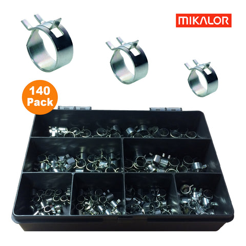140 x Assorted Mikalor W1 Self Clamping Spring Hose Clips