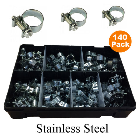 140 x Assorted Mini Hose Clamps Stainless Steel Clips<br><br>