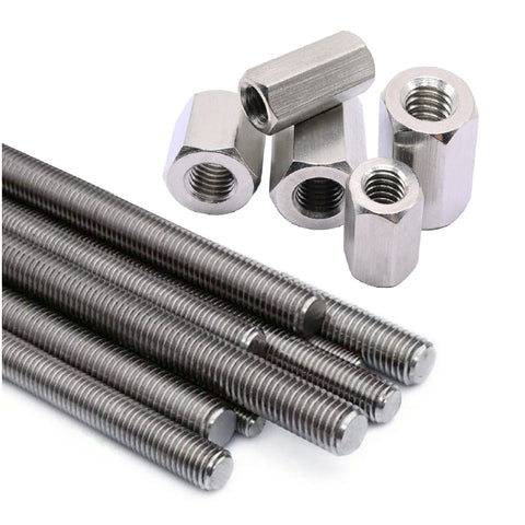 Fully Threaded Steel Screwed Rods 300mm with Connector Nuts Menu Options
