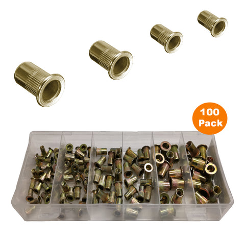 100 x Assorted Serrated Threaded Nutserts <br><br>