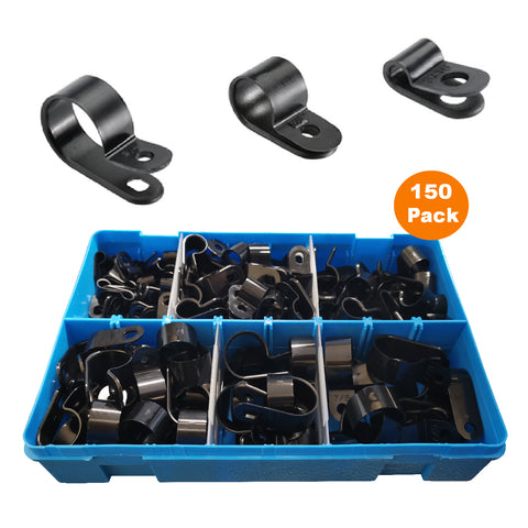 150 x Assorted Metric Black Nylon P Clips <br><br>