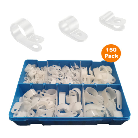 150 x Assorted Metric Natural / White Nylon P Clips <br><br>