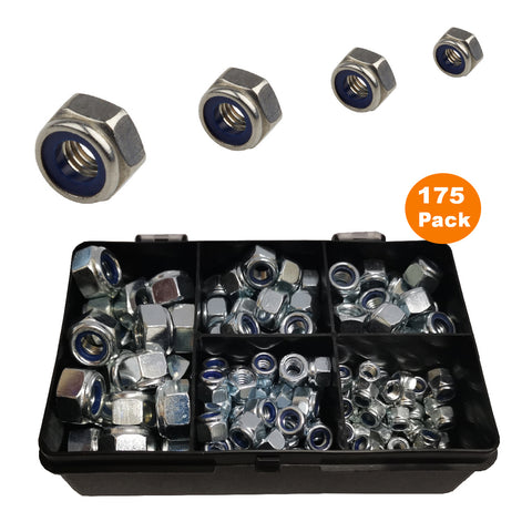 175 x Assorted Metric Nylon Insert Locking Nuts<br><br>
