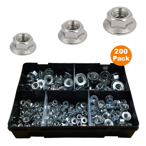 200 x Assorted Flanged Serrated Hex Nuts to Fit Metric Bolts