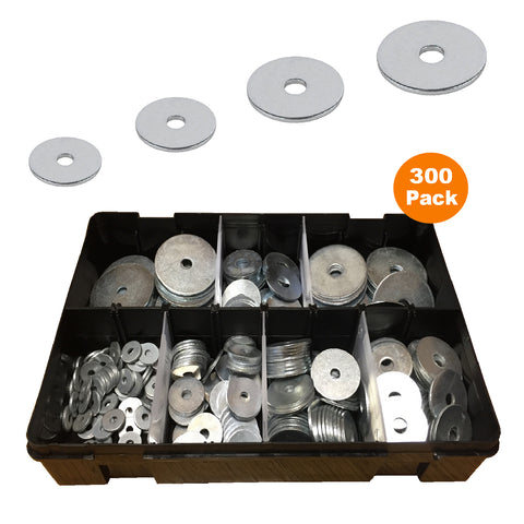 300 x Assorted Metric Steel Penny Repair Washers<br><br>