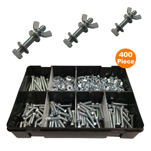 400 Piece of Set Screw M5 Bolts, Washers & Wing Nuts<br><br>