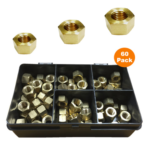 60 x Assorted UNF Brass Exhaust Manifold Nuts <br><br>