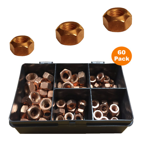 60 x Assorted Copper Flashed Exhaust Manifold Nuts <br><br>