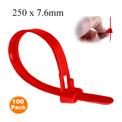 100 x Red Releasable Cable Tidy Zip Ties<br> Menu Options