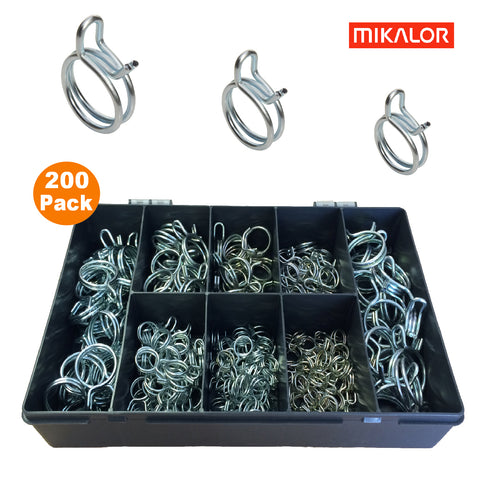 200 x Assorted Mikalor Double Wire Spring Clips<br><br>