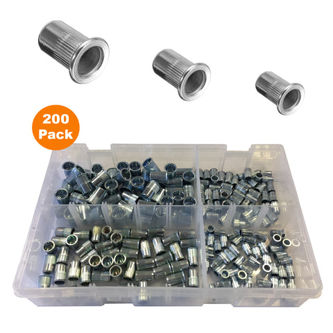200 x Assorted Serrated Threaded Nutserts <br><br>