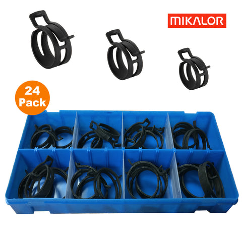 24 x Assorted Mikalor Heavy Duty Spring Band Clamps<br><br>
