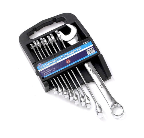 9 PCE Chrome Metric 8-19mm Combination Spanner Set, Including Carrying Case