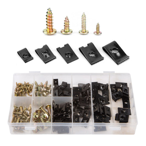 170 x Assorted Speed Fastener U Clips & Screws <br><br>