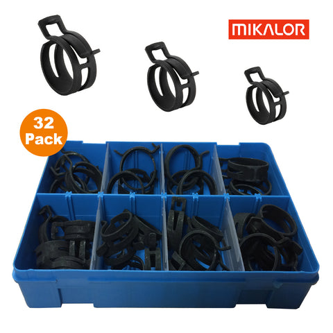 32 x Assorted Mikalor Heavy Duty Spring Band Clamps<br><br>
