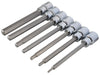 "7 PCE Chrome 3/8"" Extra Long Hex Socket Bit Set H3-H10, Includes Plastic Case"
