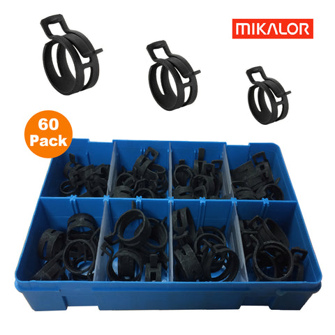60 x Assorted Mikalor Heavy Duty Spring Band Clamps<br><br>