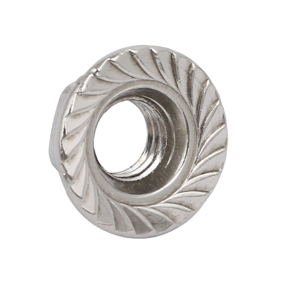 10 x Serrated Flanged Nuts M12 x 1.75mm Pitch Hex Nut 12mm Bright Zinc Plated