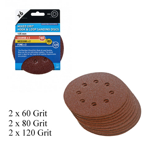 6 x Mixed Grit Hook and Loop 125mm Sanding Disc Sheets<br><br>