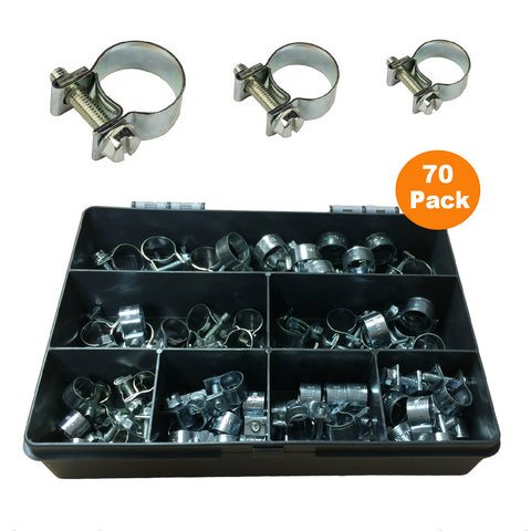 70 x Assorted Mini Fuel Line Jubilee Hose Clips<br><br>