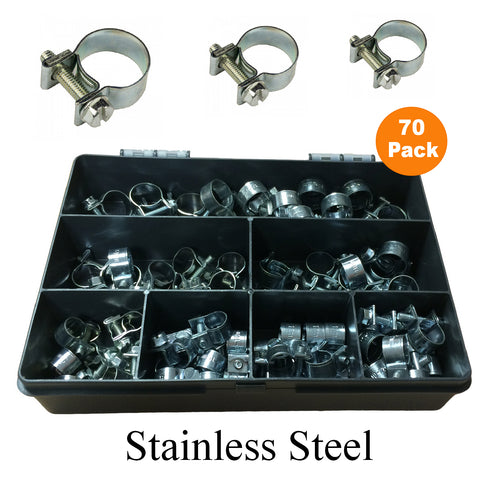 70 x Assorted Mini Hose Clamps Stainless Steel Clips<br><br>