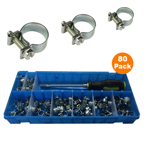 80 x Assorted Mini Fuel Line Hose Clips & Flexible Driver<br><br>