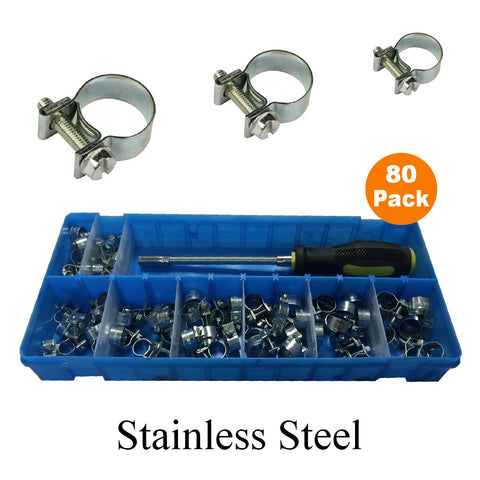 80 x Assorted Stainless Steel Mini Fuel Line Hose Clips & Flexible Driver