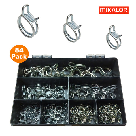 84 x Assorted Mikalor Double Wire Spring Clips<br><br>