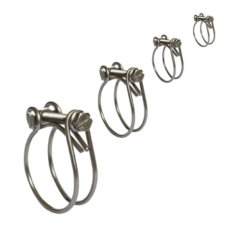 40 x Assorted Two Wire Hose Clamps, Double Wire Clips