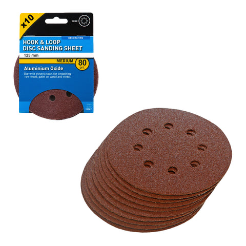 Hook and Loop 125mm Orbital Sanding Discs 80 Grit<br><br>