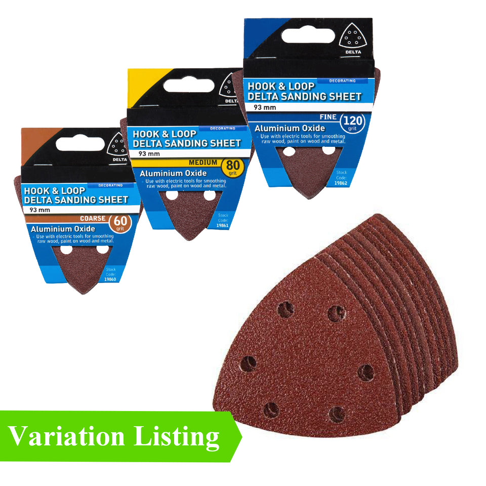 5 x Hook and Loop 93mm Detail Sanding Sheets 60 Grit Triangle Sandpaper Pads