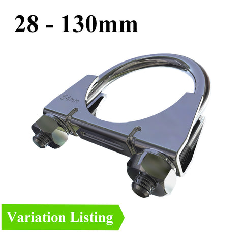 Universal U Bolt Exhaust Clamps. <br>Sizes: 80 - 130mm