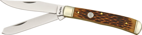 Rough Rider Trapper Amber Jigged Bone - Oakedge Knives