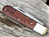 Beautiful Handmade in England Classic Pocket Knife, Damascus Blade, Snakewood - Oakedge Knives