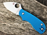 Custom Aluminium Scales Spyderco Squeak Light Blue - Oakedge Knives