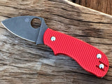 Oakedge Custom Collection Spyderco Squeak Dark Red Aluminium Scales Acid / Stone Washed - Oakedge Knives