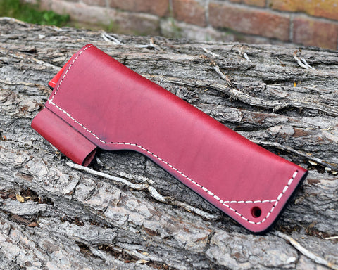 Oakedge Leather & Suede Knife Sheath  Burgundy / Red